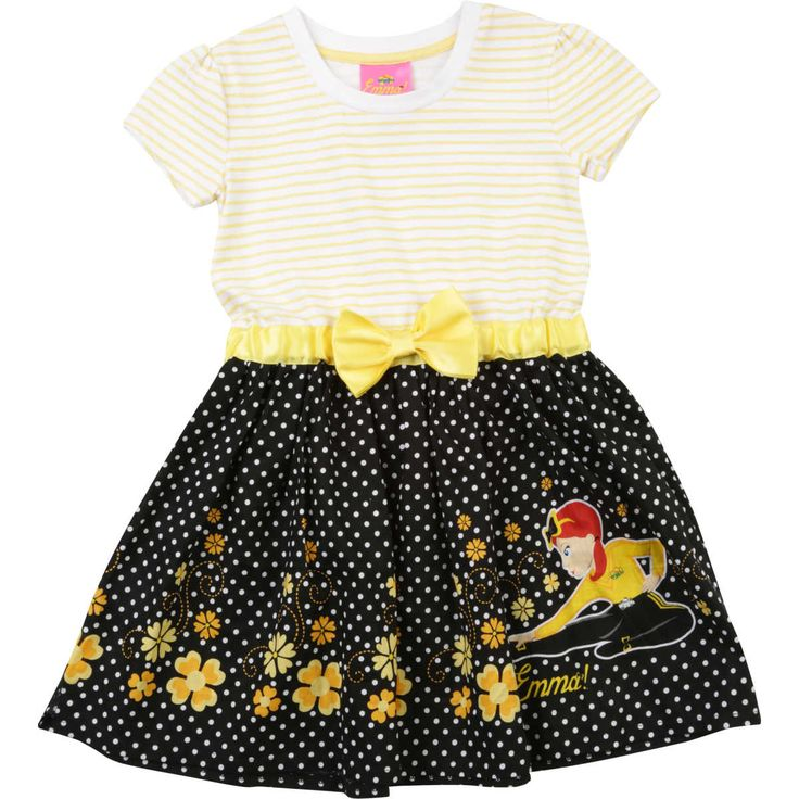 Your Little Girl will love this Skater dress from Wiggles featuring Emma Printed along with cute flowers. This striped jersey bodice and Polka dot printed bottom will bring easy, effortless style to her wardrobe. It features Short Sleeves and is crafted from a premium cotton blend for maximum comfort against her skin for comfortable wear throughtout day. $25