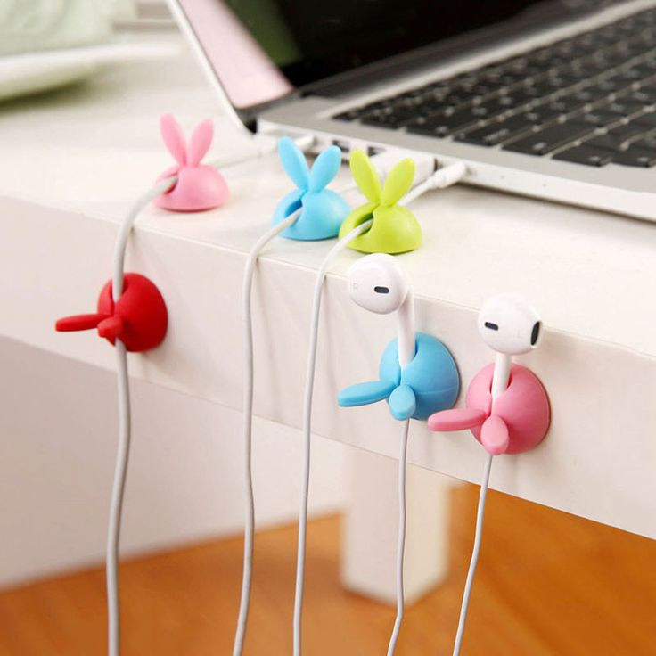 NI5L Cute 3X Rabbit Cable Drop Clip Desk Tidy Organiser Wire Cord Lead Holder