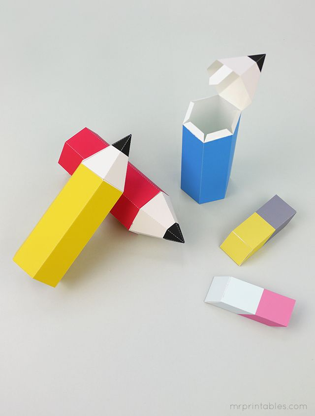 FREE printable Back-to-School pencil favor boxes with erasers ^^