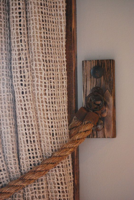 Rope Curtain Tieback (Hemp)   Hardware from Italy; Clavos from Mexico: