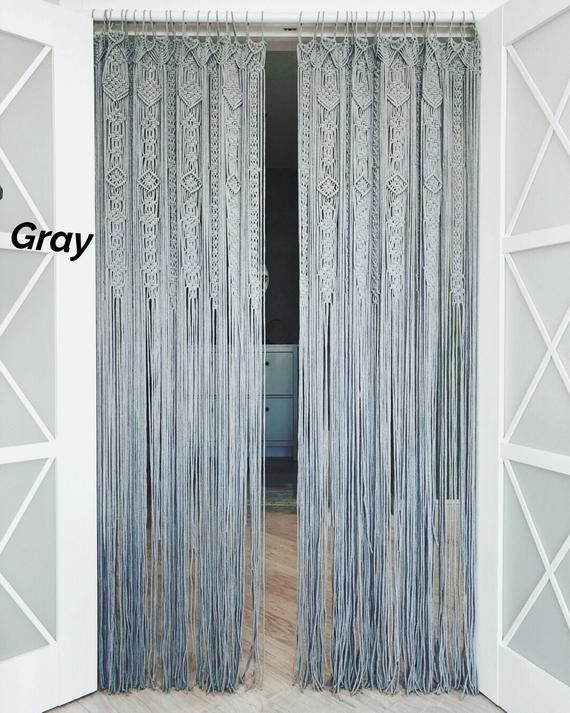 Large Macrame Door Curtains Of 2 Or 1 Panels Macrame Window Etsy Macrame Door Curtain Door Curtains Beaded Door Curtains