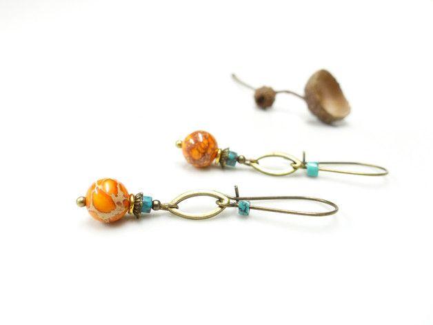 ~ Pour Elle ~ Boucles d'oreille ethniques. Perles en jaspe sédiment de mer & turquoise. - 15,90 € -