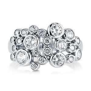 Clear Cubic Zirconia CZ 925 Sterling Silver Bubble Design Fashion Ring - Nickel Free Fashion Right Hand Ring Size 6-Mother's Day Gift Jewelry BERRICLE. $47.99