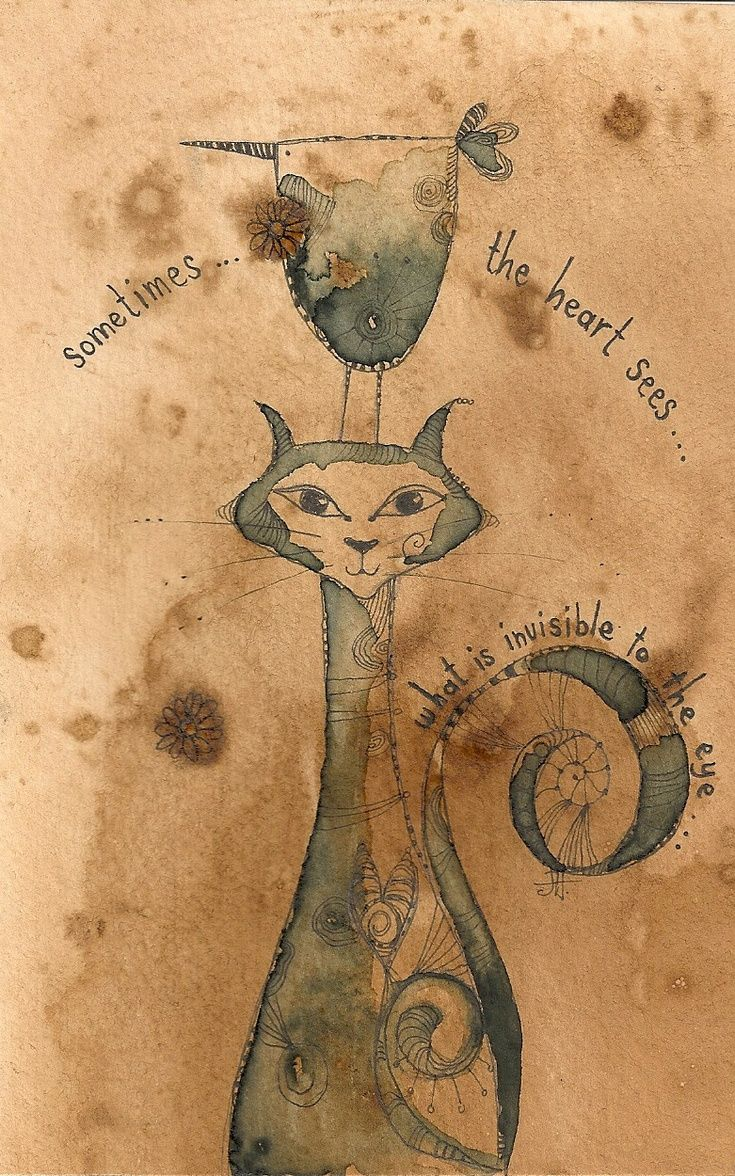 ARTFINDER: Sometimes by Jilly  Henderson - 'Sometimes' is an original pencil and ink drawing on hand stained paper. Measuring 103mm x 160mm in size, this study shows a beautiful cat with her friend th...