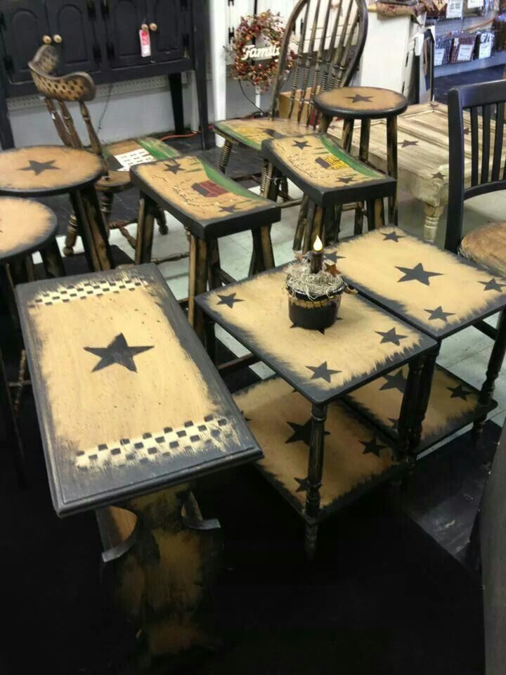 For my black stools- distress around borders, then add the crackle & tan on top with black stars. (Like my mail holder).