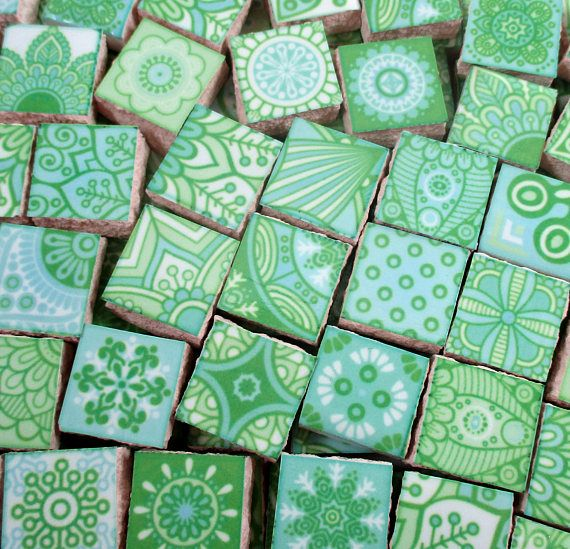 Fun bright colors of ceramic tile pieces used for mosaic art, jewelry or mixed media projects. Wherever your imagination takes you. Tiles measure from approx 1/2 x 1/2  across & approx 1/4 thick Approx 90 mosaic tile pieces - .25 square feet of tiles All low fire ceramic mosaic tile pieces are flat on the back Hand cut from a 6x6 larger tile. The edges are unfinished Sanded or unsanded grout can be used Not recommended for outdoors Made in the USA US-B-221