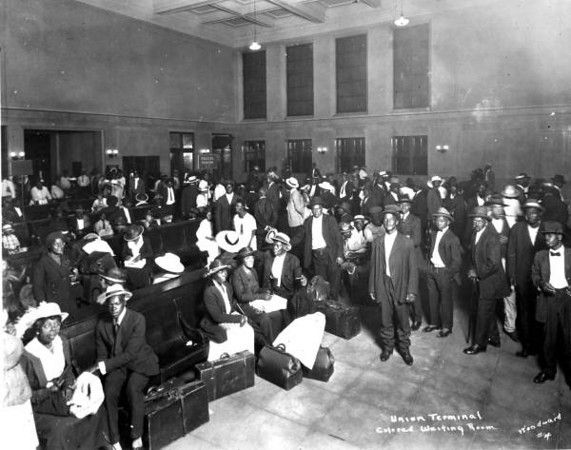Jacksonville: Union Terminal. The black waiting room in 1921. The black waiting room always had a more detailed ceiling, similar to the Texas Pacific Station (still in use) in Fort Worth.