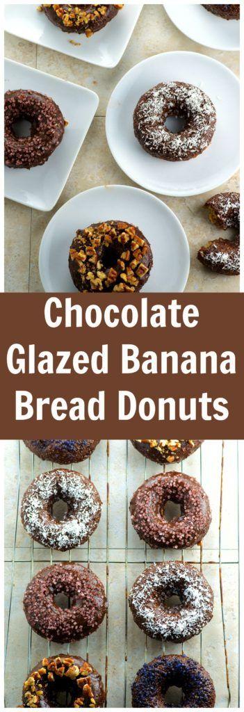 The moistest Chocolate glazed banana bread donuts you will ever taste