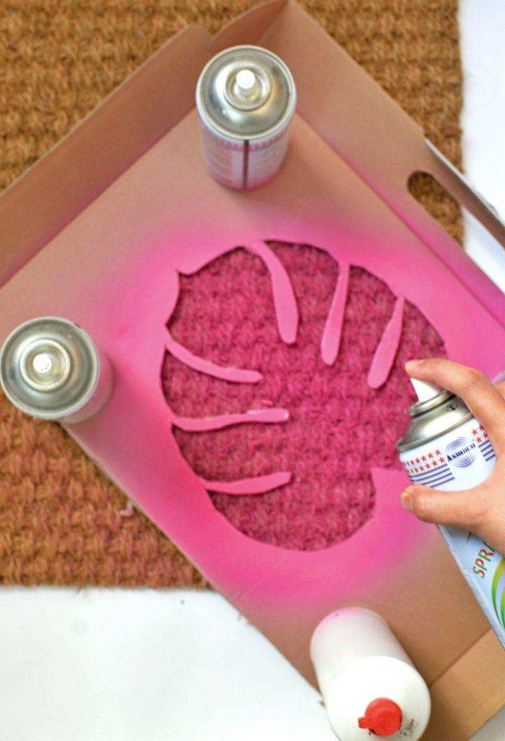 ~ DIY monstera leaf doormat ~