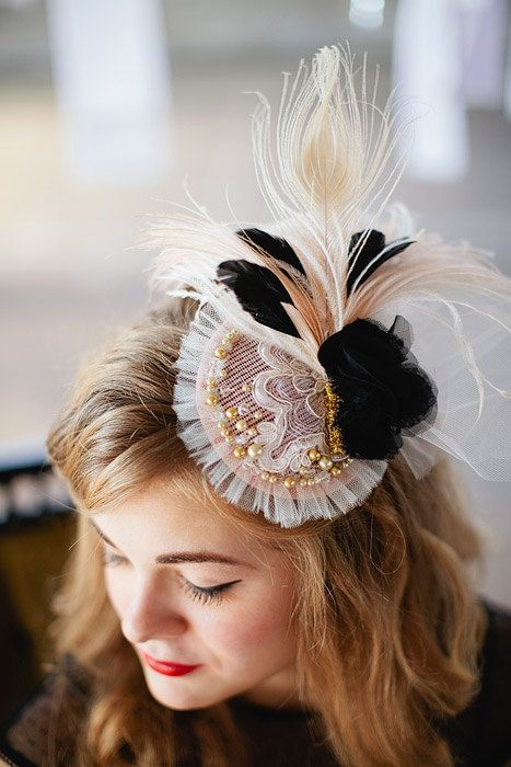Glamour Girl mini hat in blush pink black ivory