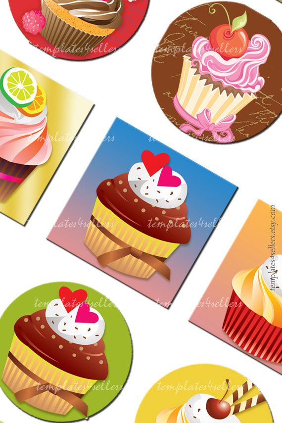 Digital Collage Sheet Cupcakes Vintage 1 inch by Templates4Sellers