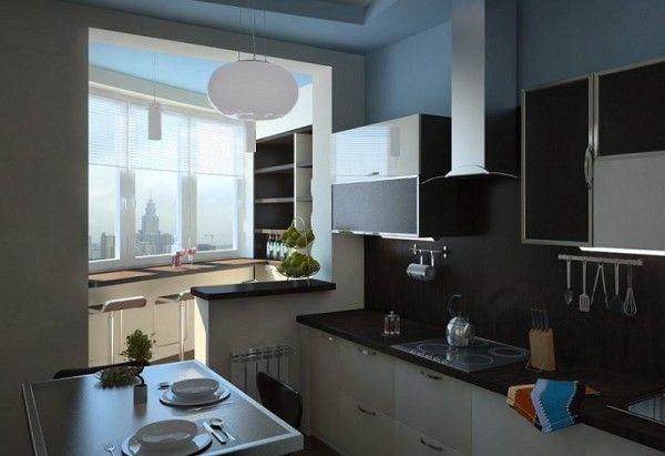 Дизайн кухни-балкона, где оставшийся бетонный выступ оснащен небольшой столешницей