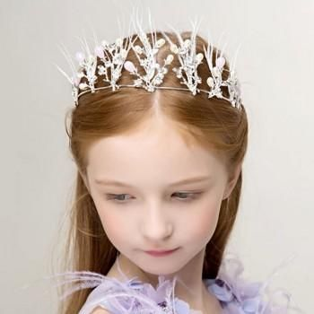 Gorgeous White Rhinestone Crown Hairband for Girls
