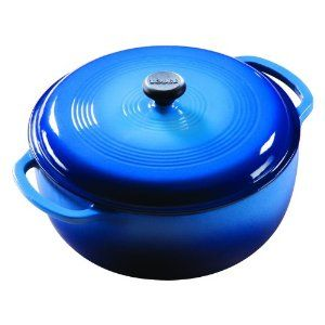 Lodge dutch oven - one of my most used pieces of cookware. Very comparable to Le Creuset (in my opinion) for a fraction of the cost.