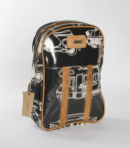 Fun, beautiful Thandana Kiddies Backpack black and white in color with a car motive.  Shop @ www.wave2africa.com