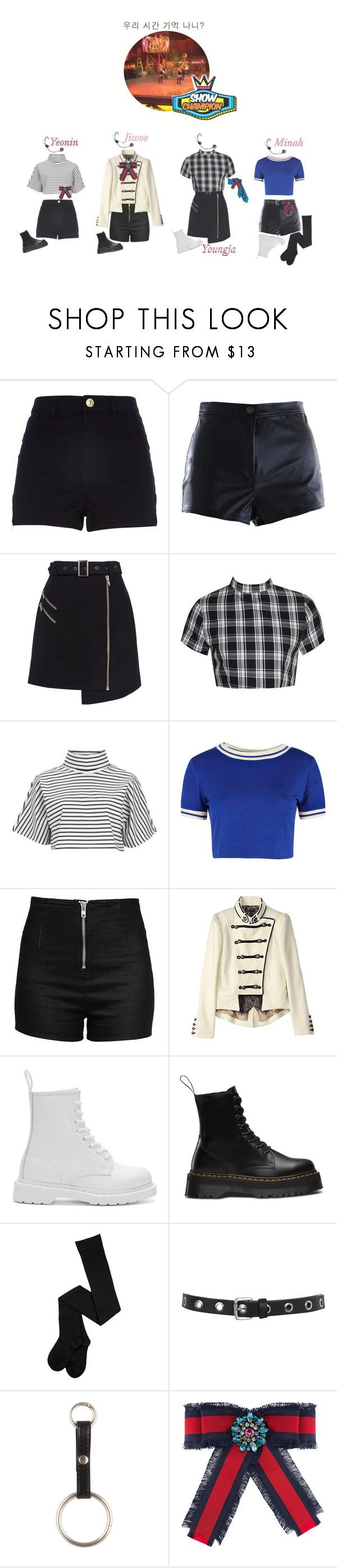 """""""《Goodbye Stage》4U - REMEMBER OUR TIME ON SHOW CHAMPION"""" by official4u ❤ liked on Polyvore featuring River Island, Cameo, Boohoo, The Fifth Label, Love Moschino, Dr. Martens, Miss Selfridge and Gucci"""