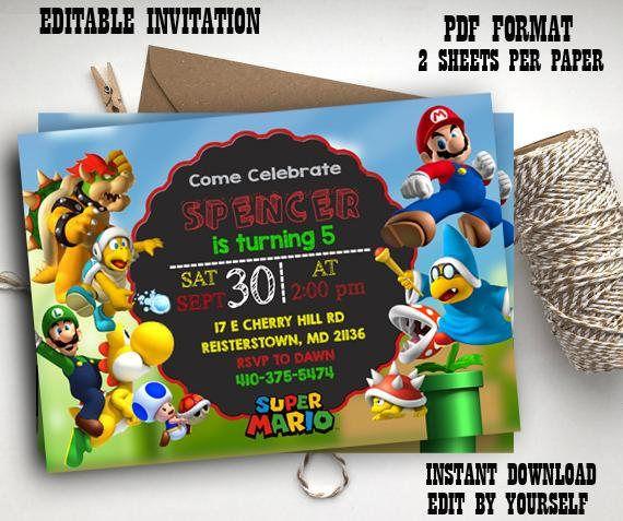 Instant Download Super Mario Editable pdf Invitations Super