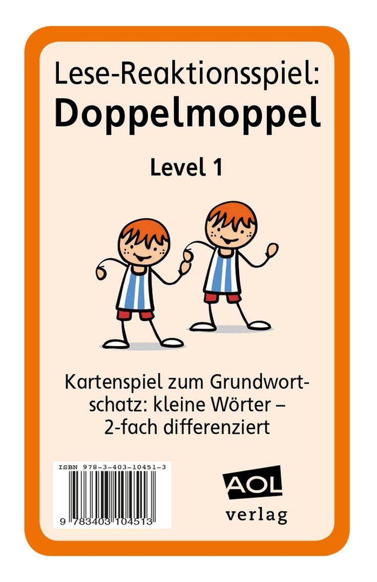Lese-Reaktionsspiel: Doppelmoppel Level 1 - Blitzlesen: mit diesem Kartenspiel trainieren Ihre Schüler die Worterkennung von kleinen Wörtern.  Sie trainieren, ihre Lesegeschwindigkeit zu steigern. Es eignet sich für die Leseförderung, aber auch für den DaZ-Unterricht.