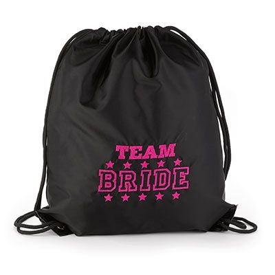 """Team Bride - Cinch Bag - Black Support """"Team Bride"""" with this black nylon bag featuring the design embroidered in fuchsia, a cinch closure, black draw strings, and reinforced bottom grommets."""