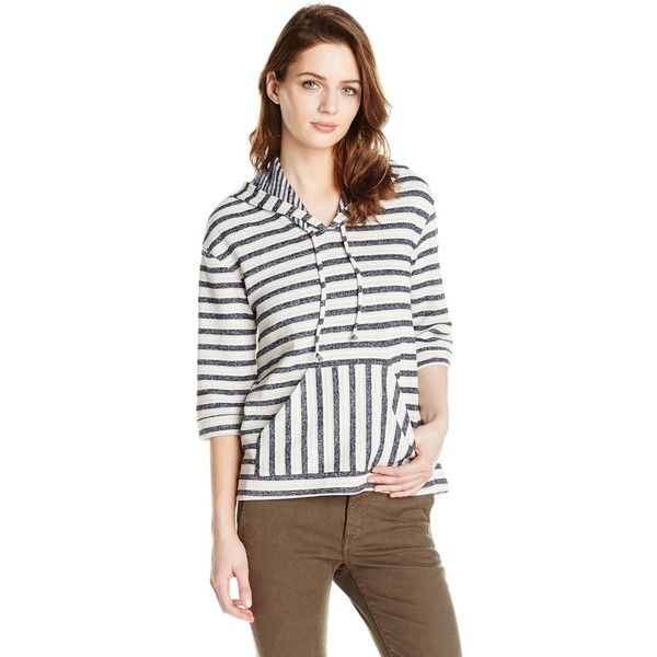 LAmade Women's Nautical Stripe Nassan Zip Up Hoodie ($26) ❤ liked on Polyvore featuring tops, hoodies, white hooded sweatshirt, white zip up hoodies, zip up hoodies, zip up tops and cut off hoodie