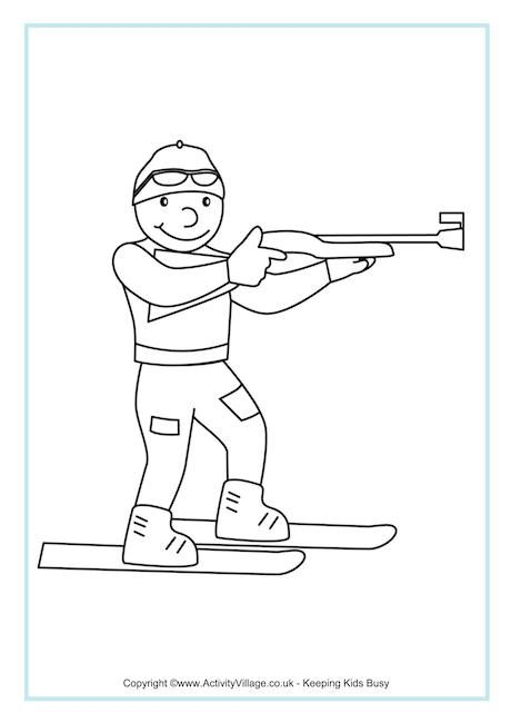Biathlon Colouring Page