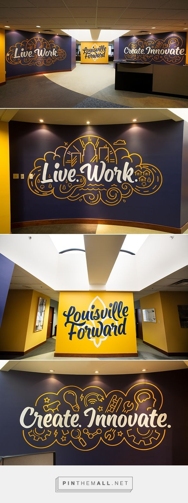 Words on a wall is what we live for. While these might be painted on, we prefer to stick our on with wall wraps on 3M Vinyl. inkmonstr.com will show you exactly what we mean!