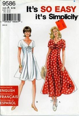 Simplicity 9586 Misses Princess Seam Dress pattern size 8 ...