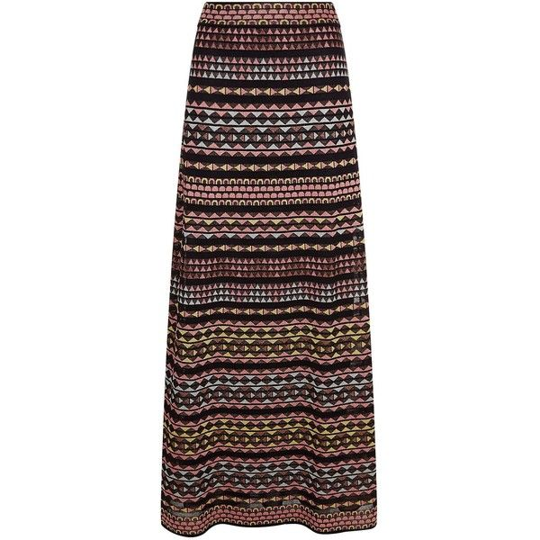 M Missoni Knitted Aztec Print Maxi Skirt ($640) ❤ liked on Polyvore featuring skirts, elastic waist long skirts, long metallic skirt, aztec maxi skirt, striped skirt and stripe maxi skirt
