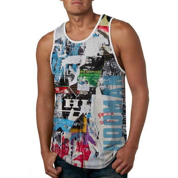 Men Fashion Tank Top Grunge Torn Poster - Anti UV #HoomanDesign #TankTop #USA #fashion #apparel #tshirt #banana #fruit #ebay #retro #grafity #torn #posters