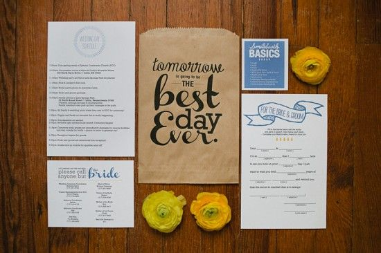 for rehearsal dinner - ideas of what to put in the bag for a control freak bride