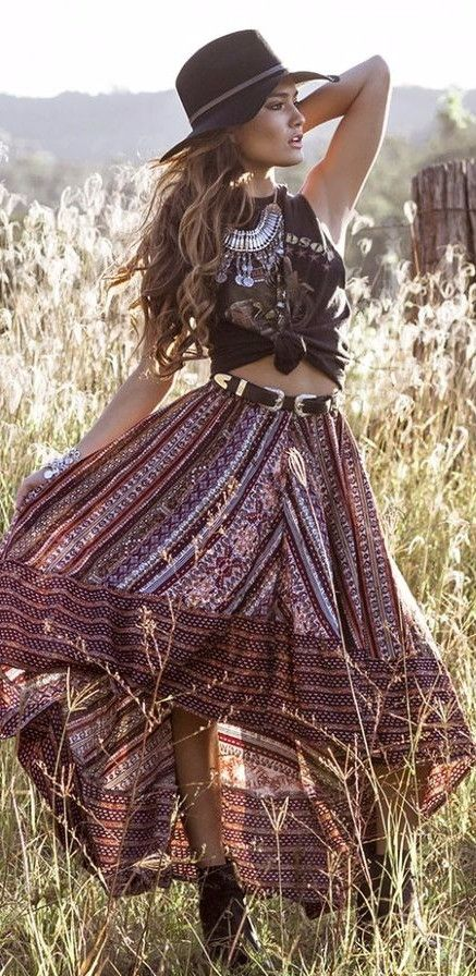 cute gypsy style outfit idea: hat + top + maxi skirt