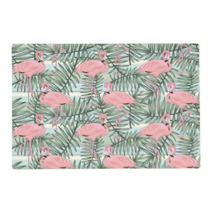 #Cute Pink Flamingoes Palm Leafs Pattern Placemat - #travel #trip #journey #tour #voyage #vacationtrip #vaction #traveling #travelling #gifts #giftideas #idea