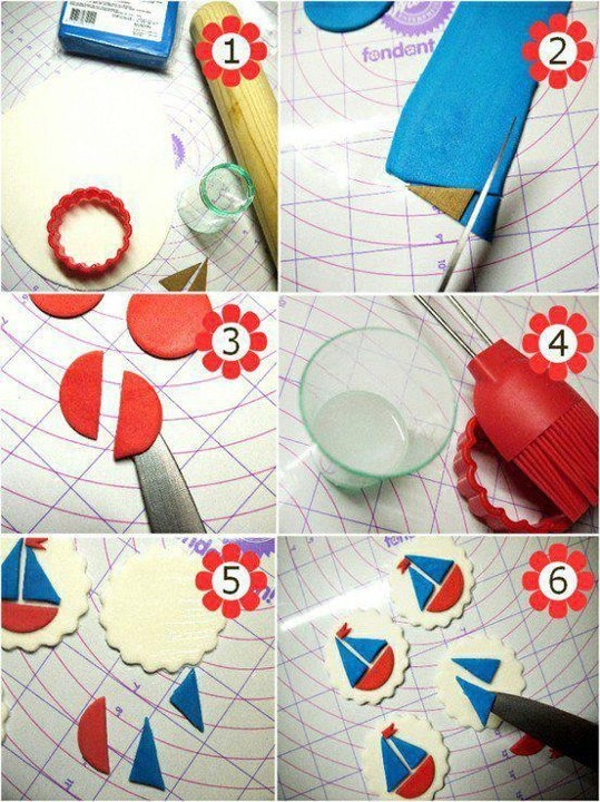 fondant sail boat cupcake toppers