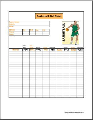 Free! Printable basketball stat sheet to keep track of players, points and scores.
