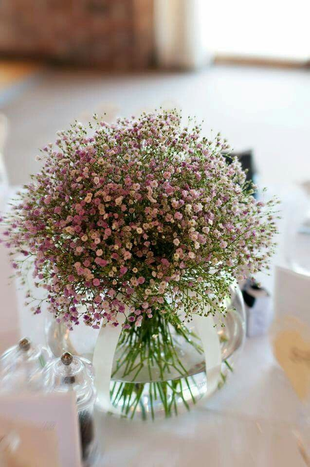"""Pink gypsfillia or"""" Baby's breath"""" small round bouquet"""