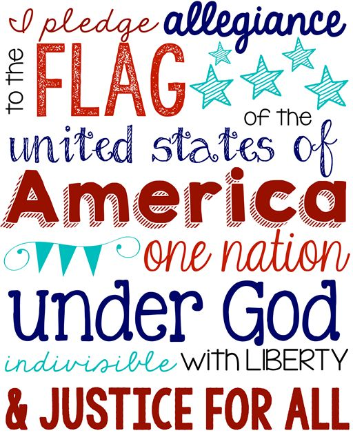 Pledge of Allegiance Printable at GingerSnapCrafts.com USA patriotic ideas