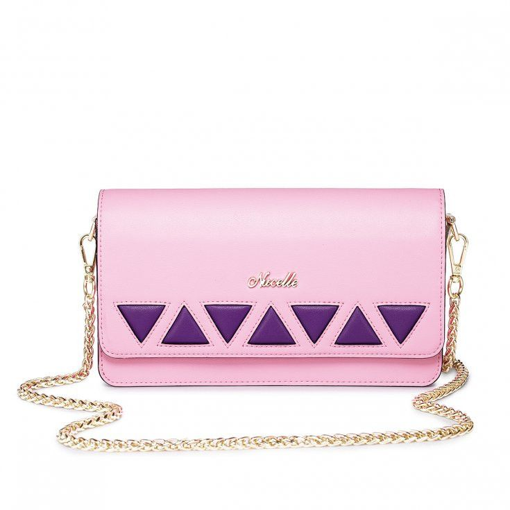 Pink Clutch With Purple Triangles and Gold Chain #pinkbag #pinkclutch #exclusivebag #nucelle #nucellebag