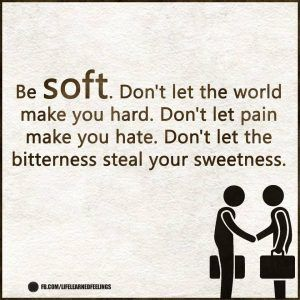 The Quote, Be soft don't let the world make you hard don't let pain make you hate don't let the bi