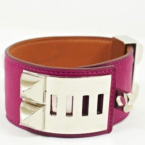 Hermes Collier de Chien CDC Bracelet Tosca swift leather Palladium sz L