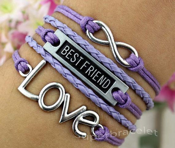 Silver infinity bracelet , friendship LOVE bracelet , best friend , purple leather cord bracelet , blessing gift to girlfriend and BFF on Etsy, $4.99