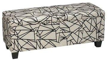 Cortesi Home Zigzag Fabric Storage Ottoman - contemporary - Bedroom Benches - Overstock.com