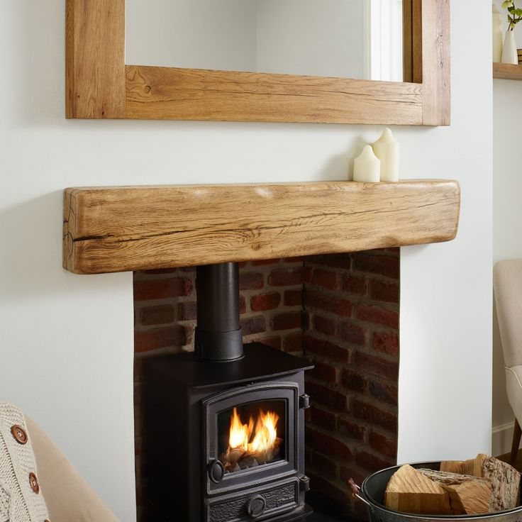 About the oak beam aged flamed mantel The aged and flamed oak mantel has a very gentle but deep wane on all edges and is smooth and round with no