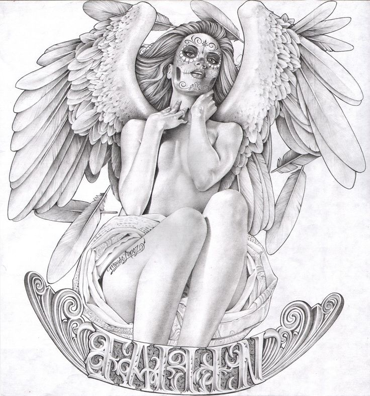 Fallen by Mouse Lopez Mexican Death Mask Angel Canvas Art Giclee Print