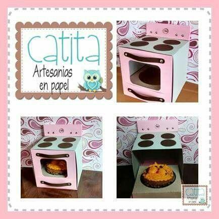 Caja para cupcake. Cupcake oven box.