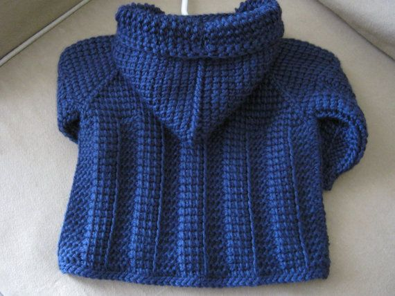 Dark Navy Blue Crochet Baby Boy Sweater with by ForBabyCreations