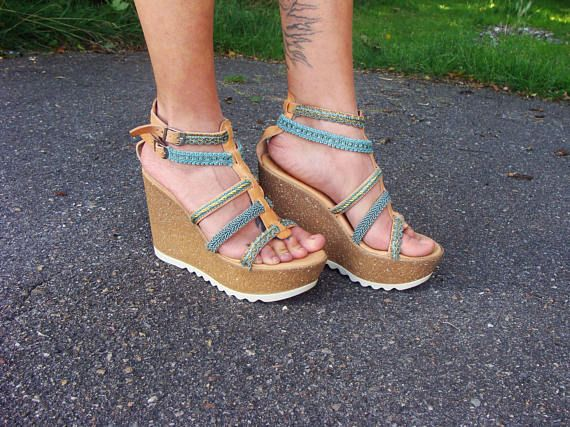 Wedge Heel sandals, Greek Leather sandals, Boho chic sandals