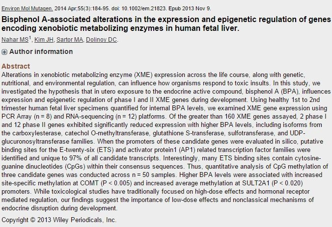 Bisphenol A-associated alterations in the expression and epigenetic... - PubMed - NCBI