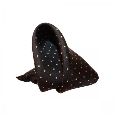 Black Mimosa Pocket square. Silk pochette (100%silk, twill). Pois print made in Italy.