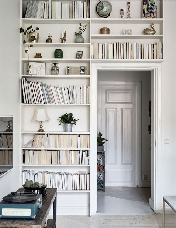 Bookshelves Built Around Door | Living Space