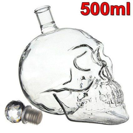 SODIAL(R) Calavera de Cristal gotica Jefe tiro de la vodka whisky Decanter Wine Glass Copa de Halloween - 500ML